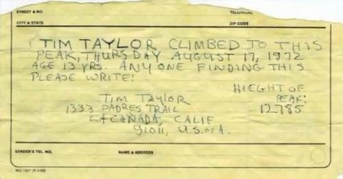 Tim taylor hiker note